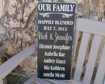 Happily Blended Sign, Blended Family Sign, Our Family Wooden Sign, Rustic Family Sign, Wedding Gift