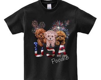 July 4 Fireworks Celebration with Poodle Puppy, Patriot Dog - Men, Women, Kids, Short Sleeve Tee Shirt, PrintStarTee Graphic Japan, Gift
