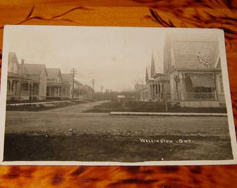 1914 Street Scene Wellington Ontario Herington & Son Real Photo Postcard rppc