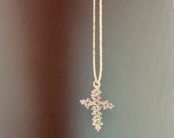 Gold/metal chain necklace gold plated fine 14kt cross necklace/minimalist/pendant/necklace / gift