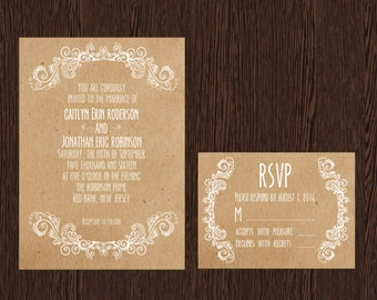 Kraft Chic // Printable, DIY Wedding, Wedding Invitation, Custom Invitation
