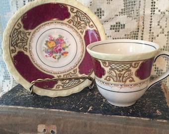 Antique collectible bone china demitasse teacup saucer myotts staffordshire england