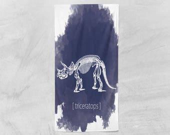 Dinosaur Skeleton Beach Towel - Poly Cotton Towel - 36x72 Beach Towel - Kids Beach Towel - Swimming Towel - Pool Towel - Kids Pool Towel
