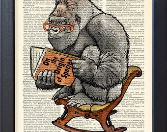 Gorilla poster, Ape Charles Darwin book, inspirational funny print, Dictionary Pages funny print, home dorm decor, CODE/229