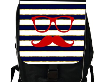 Hipster Elements Glasses and Mustache on Gilded Navy Stripes - Black School Backpack