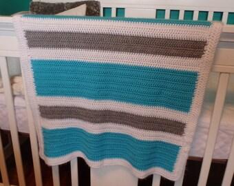 Crochet Baby Blanket, Crochet Baby Afghan, Blue White Grey Stripes, Baby Boy Blanket, Crochet Baby Boy Blanket, Baby Afghan, Crib Quilt