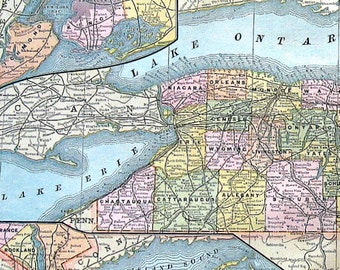 Large Map of The State of New York - US State Map - New York Map - 1883 Antique Map - Crams' World Atlas Book Page - 21 x 13