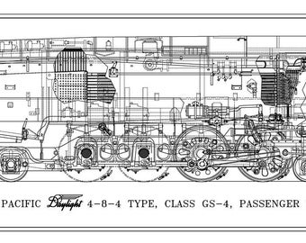 """Southern Pacific """"Daylight Express"""" GS-4 4-8-4 Type Locomotive Drawing - Side View"""