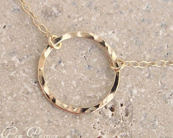 Karma Necklace 14k Yellow Gold Fill, Large Hammered Circle Disc Necklace - Handmade - 5/8ths Eternity Circle Necklace Gold Ring Layering