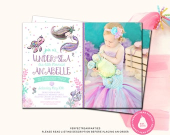Glitter Mermaid Photo Birthday Invitation Mermaid Birthday Mermaid Invitation Under the Sea Birthday