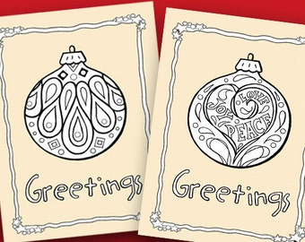 Christmas Cards to Color, Printable Christmas Card, HolidayCrafts, Digital Christmas Ornaments to color, Holiday kids craft, classroom cards