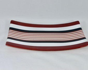 Red Striped Fused Glass Plate