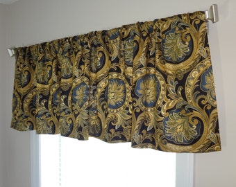 Beautiful Black Gold & Blue Floral Valance Curtain Window Treatment Valance 52x15