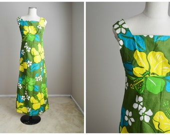 Vintage 60s Olive Green Blue Yellow Hawaiian Dress with Scarf Wrap Belt // womens xsmall small