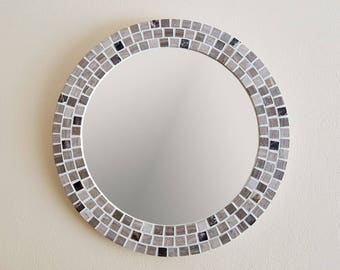 Marble Mosaic Wall Mirror - 40cm - Pale Beige / Natural / Light Brown - Round Bathroom Mirror