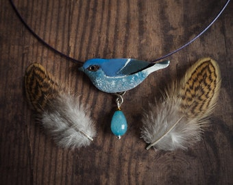 Plumbeous water redstart necklace, nature inspired enamelled bird necklace, blue enamelled copper bib necklace, bird necklace, gift for her