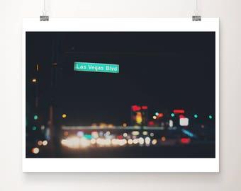 Las Vegas photograph travel photography las vegas boulevard the strip photograph las vegas print night photograph road photograph