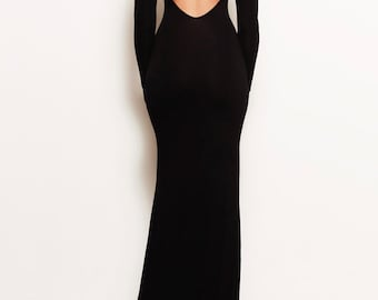 VIVIEN - Black Open Back Backless Jersey Mermaid Fitted Bodycon Long Sleeve Gown Train Michael Kors Kim Kardashian Khloe Kylie Jenner Kylie