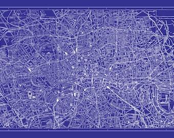 London Map - Street Map Vintage Poster Print Blueprint