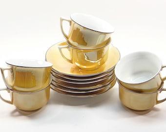 Six Lusterware Cups and Saucers  -  Leuchtenburg Germany, Yellow Gold Lusterware Black Trim Handles - Ex. Condition!