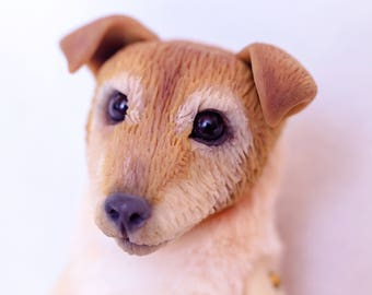 Replica dog Portrait doll to order from the photo  Dog  OOAK   Jack Russell art toys animals plush polymer clay figure exclusiv art