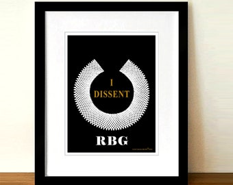 "Lawyer print, ""I DISSENT - Ruth Bader Ginsburg""-8.5""x11"" print, Lawyer Gift, Pass the Bar gift, Law Decor, Judge gift, Supreme Court Justice"
