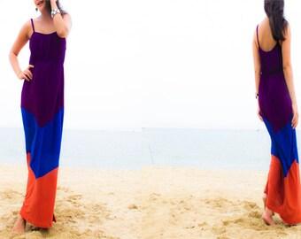 Color Block Purple Blue Orange spaghetti strap long maxi Sun dress all size