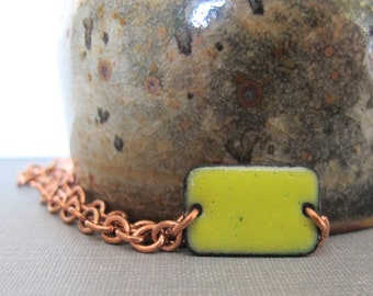 Yellow Bracelet, Enamel Bracelet, Enameled Copper, Copper Chain, Chain Bracelet, Yellow Rectangle, Geometric Jewelry, Copper Bracelet