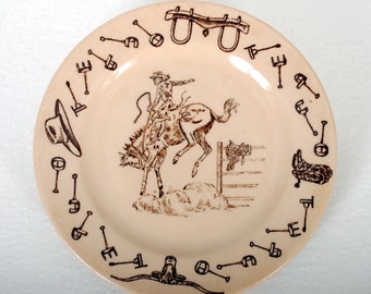 """Tepco China Western Traveler """"Bronc"""" Bread Plate"""
