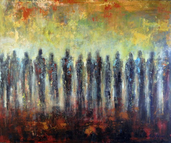 ABSTRACT people art Masses of People Large ORIGINAL painting Modern Wall Decor 36x30 by BenWill
