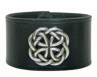 "BLACK Leather Wristband, Celtic Knot 1 1/2"" Custom Mens Leather Bracelet, Leather Cuff Bracelets for Women, Leather Wrist Cuff, Wrist Band"