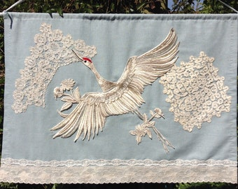 Hand sewn linen wall hanging with lace and decoupage
