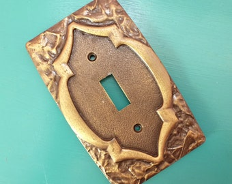 Vintage Switch Plate Amerock Moneterey 1960s Antique Brass 4 Available
