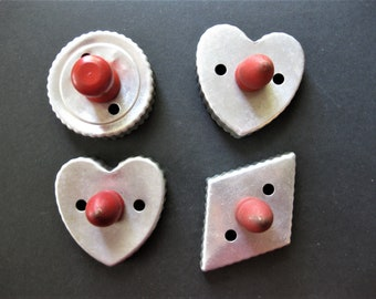 Red Handle Tin Cookie Cutters, Set of Four, Hearts, Diamond and Circle