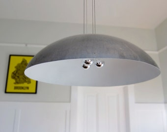 "Extra Large 30"" Diameter Steel Dome Pendant Light, white"