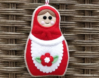 Felt Christmas Russian doll/Matryoshka  ornament