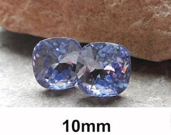 Lavender Earrings, Purple Crystal Studs, Swarovski,  Rounded Corner Square, 10mm Earrings, Rhinestone Studs, Large Studs, Rhinestone Jewelry