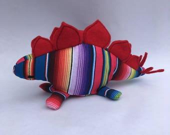 Rainbow Stuffed Dinosaur Plushie (Stegosaurus)