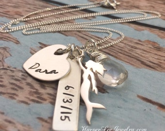 Sterling Silver Mermaid Necklace Personalized New Mom Jewelry, Baby Name, Family Necklace, Custom Birthstone, Gemstone, HarperLeeJewelry,HLJ