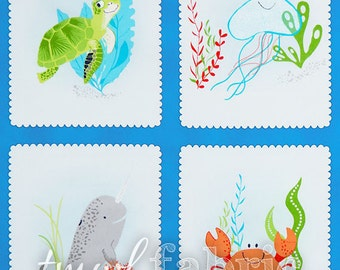 Woven Fabric - Marine Aquatic Friends Blocks - 24 Inch Panel