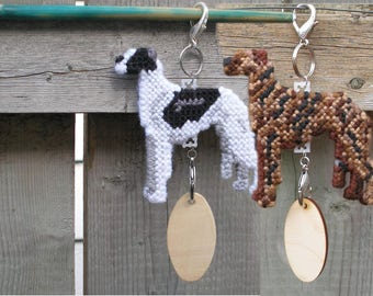 Greyhound dog art decor hang anywhere crate tag hand stitched needlepoint, Magnet option