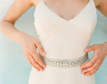 """Silver embroidery textured sash with crystal beading motif """"Lucy"""""""
