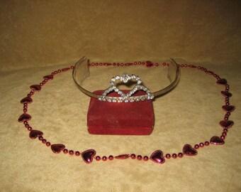 Rhinestone Tiara Heart Design 60s Vintage