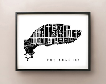 The Beaches Map - Toronto Neighbourhood Art Print