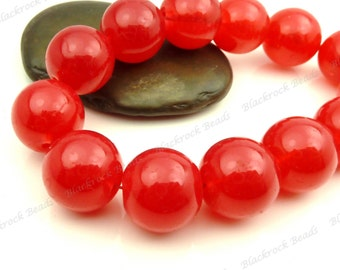 16mm Cherry Red Round Glass Beads - Smooth, Shiny, Painted, Large Beads - 12pcs - BL18