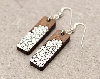 Flower Earrings, Silver Earrings, Wood Earrings, Laser Cut Earrings, Gift for her, Gifts under 50, gift for girlfriend, gift for best friend