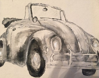 Gray VW Convertible painted on pillow