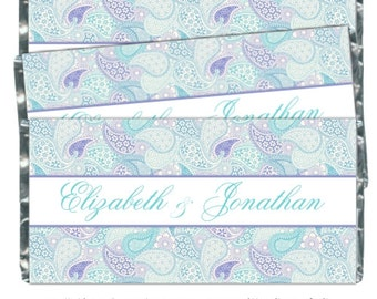 50 Wedding Candy Wrappers, Purple and Teal Paisley Bridal Shower Candy Wrappers - fit over 1.55 oz chocolate bars - CUSTOM design