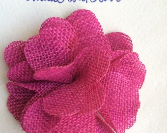 Mens Lapel Flower, Pink Burlap Flower Lapel Pin, Boys boutonnière, Men's Lapel Pin, Flower Lapel Pin, Pink Flower