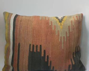 Orange Kilim Pillow, Blue Kilim Pillow, Turkish Pillow, Moroccan Pillow, Decorative Pillow